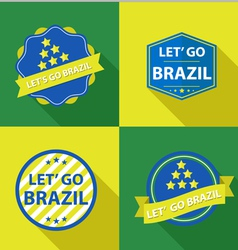 Set of vintage Brazil soccer champions labels vector image vector image