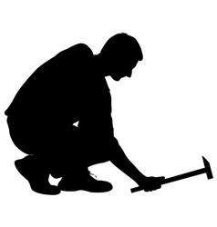 Silhouette man with hammer on a white background vector image vector image