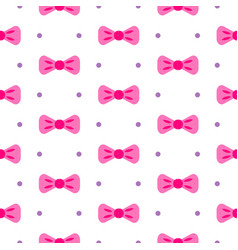 bow tie pink and white seamless pattern vector image