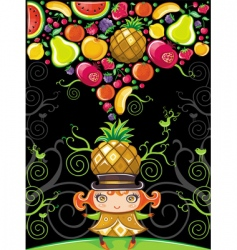 pineapple girl fruity vector image vector image