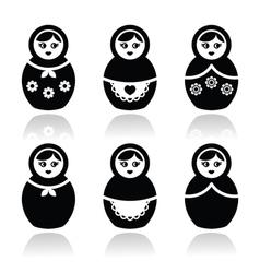 Russian doll retro babushka icons set vector image