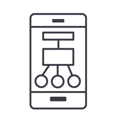 smartphone scheme structure line icon vector image vector image