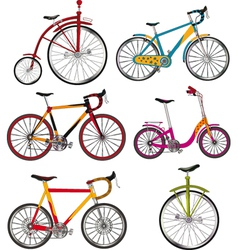 The complete set of bicycles vector image vector image