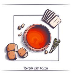 borsch with bacon vector image