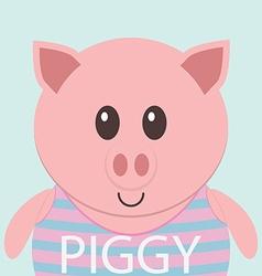 Cute piggy cartoon flat icon avatar vector image