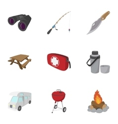 Encampment icons set cartoon style vector image vector image