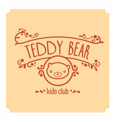 kids club logo with teddy bear cute kindergarten vector image