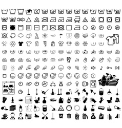 laundry washer cleaning icons vector image