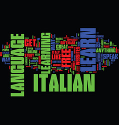 learn italian for free easily text background vector image vector image