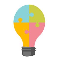 lightbulb made of jigsaw puzzle cartoon vector image