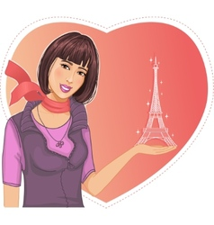 Lovely girl holds an Eiffel tower in hand on a vector image