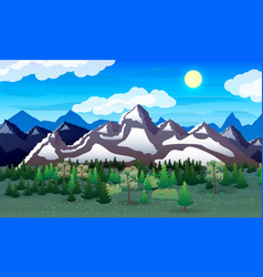 night nature landscape forest mountains lake vector image vector image
