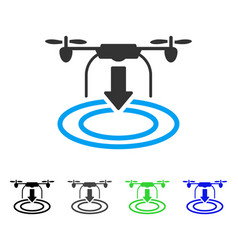 Drone landing flat icon vector