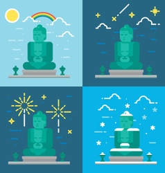 Flat design 4 styles of Kamakura Buddha Kanagawa J vector image vector image
