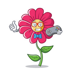 gamer pink flower character cartoon vector image vector image