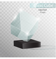 glass cube on a stand glass trophy award vector image