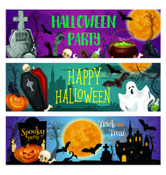 halloween party banner with ghost on cemetery vector image vector image