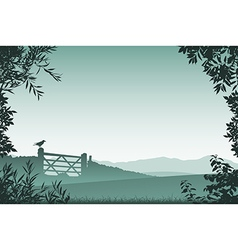 Landscape with Farm Gate vector image vector image