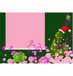 pink chrstmas tree card vector image vector image