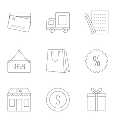 Purchase in shop icons set outline style vector image vector image