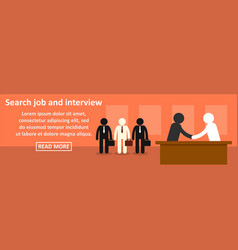 search job and interview banner horizontal concept vector image