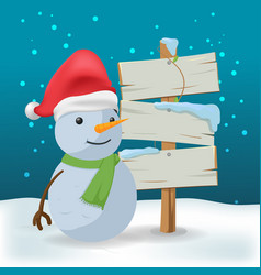 snowman outdoor wood sign cartoon vector image