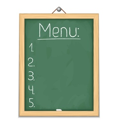 Vertical blackboard with menu vector image vector image