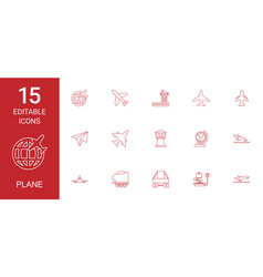 15 plane icons vector image