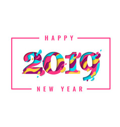 2019 happy new year paper cut banner vector image