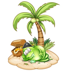 A sleeping pirate monster under the coconut tree vector image