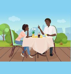 African american man and woman dinner vector