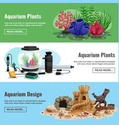 aquarium horizontal banners vector image
