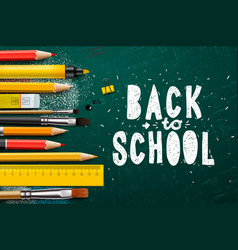 back to school banner with school items and vector image