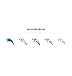Backward arrow icon in different style two vector