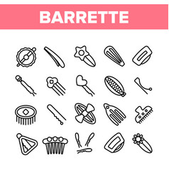 Barrette accessory collection icons set vector