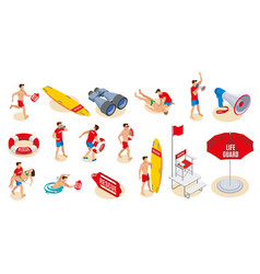 Beach lifeguards isometric icons vector
