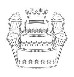 Birthday cake and cupcakes black and white vector