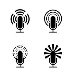 black microphone set vector image