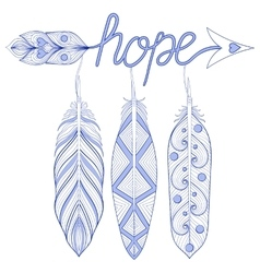Blue bohemian arrow hope amulet with henna vector