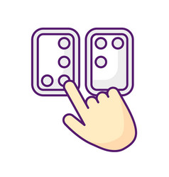 braille directions rgb color icon vector image