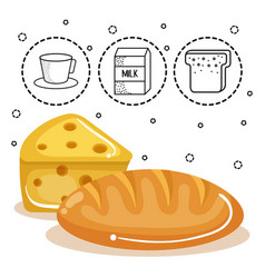 Bread and cheese design vector