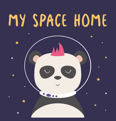 Card with panda in space vector