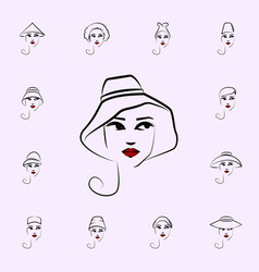 casual hat girl icon hat girl icons universal set vector image