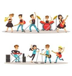 Children Musicians Performing On Stage On Talent vector