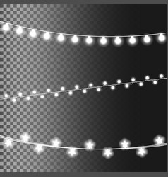 christmas glowing lights isolated on transparent vector image