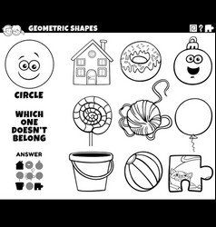 Circle shape educational game for kids coloring vector
