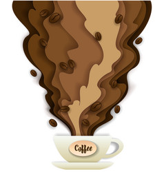 coffee paper art style design vector image