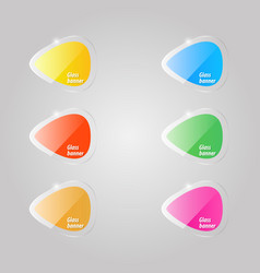 colored shiny glass banners on a gray background vector image
