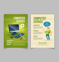 Computer repair service cartoon ad flayer vector