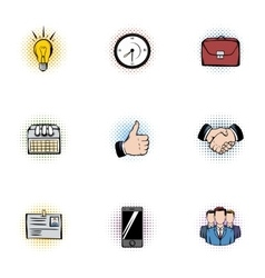 Corporation icons set pop-art style vector